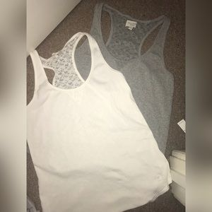 Grey and White Lace Back Tanks